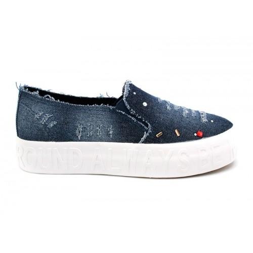 3607TD Дамски обувки от дънков плат с камъчета.